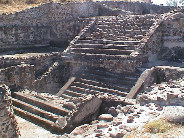 TEOTIHUCAN BURIED STAIR REMAINS UNDER NEWER STAIRS